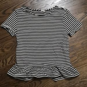 JCrew navy and white striped peplum top in xsmall